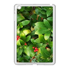 Christmas Season Floral Green Red Skimmia Flower Apple Ipad Mini Case (white) by yoursparklingshop