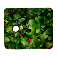 Christmas Season Floral Green Red Skimmia Flower Galaxy S3 (flip/folio) by yoursparklingshop