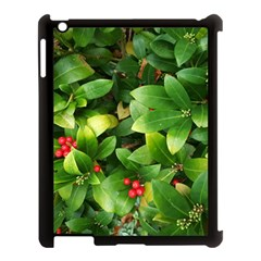 Christmas Season Floral Green Red Skimmia Flower Apple Ipad 3/4 Case (black) by yoursparklingshop