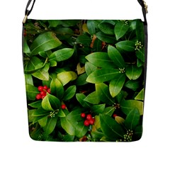 Christmas Season Floral Green Red Skimmia Flower Flap Messenger Bag (l)  by yoursparklingshop