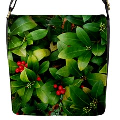 Christmas Season Floral Green Red Skimmia Flower Flap Messenger Bag (s) by yoursparklingshop