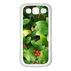 Christmas Season Floral Green Red Skimmia Flower Samsung Galaxy S3 Back Case (white) by yoursparklingshop