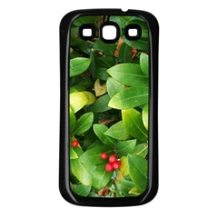 Christmas Season Floral Green Red Skimmia Flower Samsung Galaxy S3 Back Case (black) by yoursparklingshop