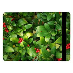 Christmas Season Floral Green Red Skimmia Flower Samsung Galaxy Tab Pro 12 2  Flip Case by yoursparklingshop