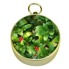 Christmas Season Floral Green Red Skimmia Flower Gold Compasses by yoursparklingshop