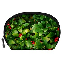 Christmas Season Floral Green Red Skimmia Flower Accessory Pouches (large)  by yoursparklingshop
