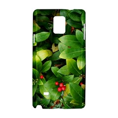 Christmas Season Floral Green Red Skimmia Flower Samsung Galaxy Note 4 Hardshell Case by yoursparklingshop