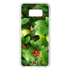 Christmas Season Floral Green Red Skimmia Flower Samsung Galaxy S8 Plus White Seamless Case by yoursparklingshop