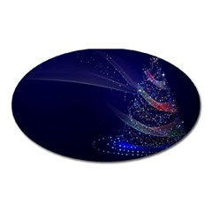 Christmas Tree Blue Stars Starry Night Lights Festive Elegant Oval Magnet by yoursparklingshop