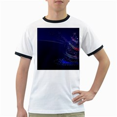 Christmas Tree Blue Stars Starry Night Lights Festive Elegant Ringer T-shirts