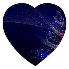 Christmas Tree Blue Stars Starry Night Lights Festive Elegant Jigsaw Puzzle (heart) by yoursparklingshop