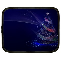 Christmas Tree Blue Stars Starry Night Lights Festive Elegant Netbook Case (xl)  by yoursparklingshop