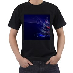 Christmas Tree Blue Stars Starry Night Lights Festive Elegant Men s T Shirt (black) by yoursparklingshop