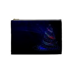 Christmas Tree Blue Stars Starry Night Lights Festive Elegant Cosmetic Bag (medium)  by yoursparklingshop
