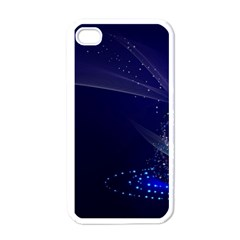 Christmas Tree Blue Stars Starry Night Lights Festive Elegant Apple Iphone 4 Case (white) by yoursparklingshop