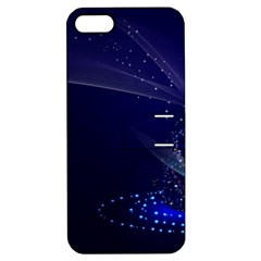 Christmas Tree Blue Stars Starry Night Lights Festive Elegant Apple Iphone 5 Hardshell Case With Stand by yoursparklingshop