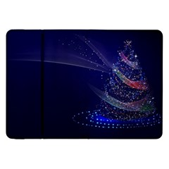 Christmas Tree Blue Stars Starry Night Lights Festive Elegant Samsung Galaxy Tab 8 9  P7300 Flip Case by yoursparklingshop