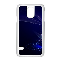 Christmas Tree Blue Stars Starry Night Lights Festive Elegant Samsung Galaxy S5 Case (white) by yoursparklingshop