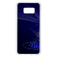 Christmas Tree Blue Stars Starry Night Lights Festive Elegant Samsung Galaxy S8 Plus White Seamless Case by yoursparklingshop