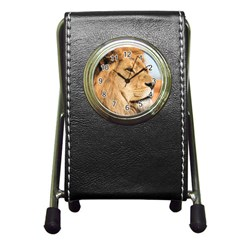 Big Male Lion Looking Right Pen Holder Desk Clocks by Ucco