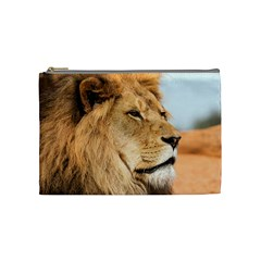 Big Male Lion Looking Right Cosmetic Bag (medium)