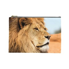 Big Male Lion Looking Right Cosmetic Bag (large)