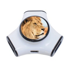 Big Male Lion Looking Right 3-port Usb Hub by Ucco