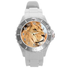 Big Male Lion Looking Right Round Plastic Sport Watch (l) by Ucco