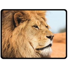 Big Male Lion Looking Right Double Sided Fleece Blanket (large)  by Ucco