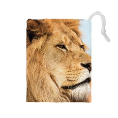 Big Male Lion Looking Right Drawstring Pouches (large)  by Ucco