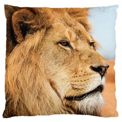 Big Male Lion Looking Right Standard Flano Cushion Case (two Sides) by Ucco