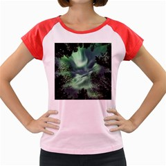 Northern Lights In The Forest Women s Cap Sleeve T Shirt by Ucco