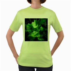 Northern Lights In The Forest Women s Green T Shirt by Ucco