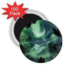 Northern Lights In The Forest 2 25  Magnets (100 Pack)  by Ucco