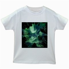 Northern Lights In The Forest Kids White T Shirts by Ucco