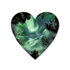 Northern Lights In The Forest Heart Magnet by Ucco