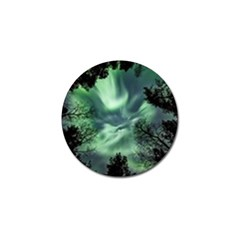 Northern Lights In The Forest Golf Ball Marker by Ucco