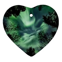 Northern Lights In The Forest Heart Ornament (two Sides)