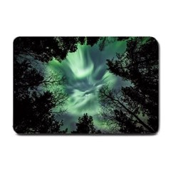 Northern Lights In The Forest Small Doormat  by Ucco