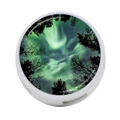 Northern Lights In The Forest 4-port Usb Hub (one Side)
