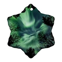 Northern Lights In The Forest Ornament (snowflake)