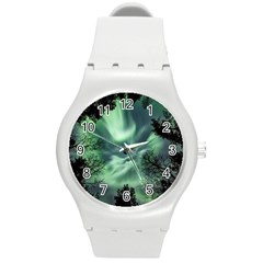 Northern Lights In The Forest Round Plastic Sport Watch (m)