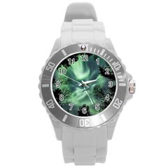Northern Lights In The Forest Round Plastic Sport Watch (l) by Ucco