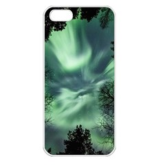 Northern Lights In The Forest Apple Iphone 5 Seamless Case (white) by Ucco