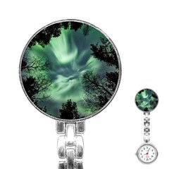 Northern Lights In The Forest Stainless Steel Nurses Watch by Ucco
