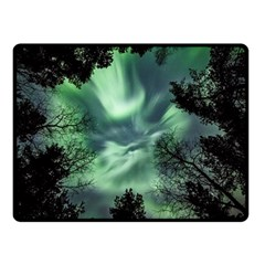 Northern Lights In The Forest Double Sided Fleece Blanket (small)  by Ucco