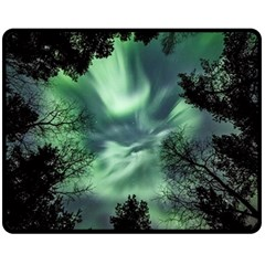Northern Lights In The Forest Double Sided Fleece Blanket (medium)  by Ucco