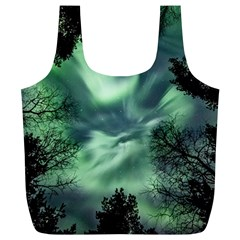 Northern Lights In The Forest Full Print Recycle Bags (l)