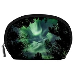 Northern Lights In The Forest Accessory Pouches (large)  by Ucco