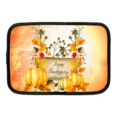 Happy Thanksgiving With Pumpkin Netbook Case (medium)  by FantasyWorld7